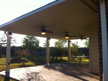 Aluminum Patio Cover In Houston With Stamped Concrete