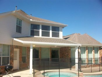 Aluminum Patio Cover With Roofing Shingles In Kingwood