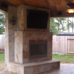 Houston Covered Patio Options Include Cedar Ceilings & An Outdoor Fireplace