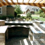 Outdoor Kitchen with Wood Pergola in Cypress