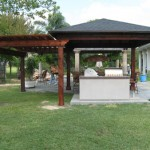 Cedar Patio Cover With Cedar Pergola in Houston