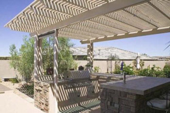 Aluminum Pergola with Outdoor Kitchen