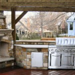 Rustic Pergola in Houston With Fireplace & Outdoor Kitchen