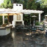 Custom Wood Pergola with Outdoor Kitchen in Tomball