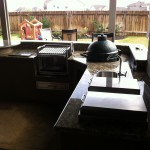 Green Egg Mounted Into Outdoor Kitchen in Pearland